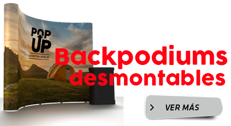 Backpodiums desmontables y banner roll up